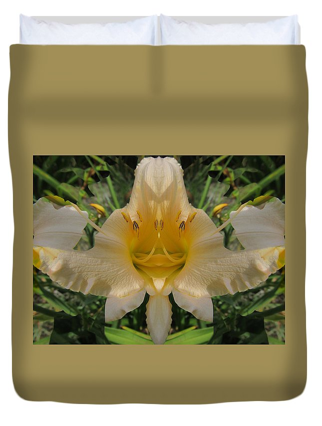 Color Blend Duvet Cover featuring the digital art Angelic Lily by Michele Caporaso