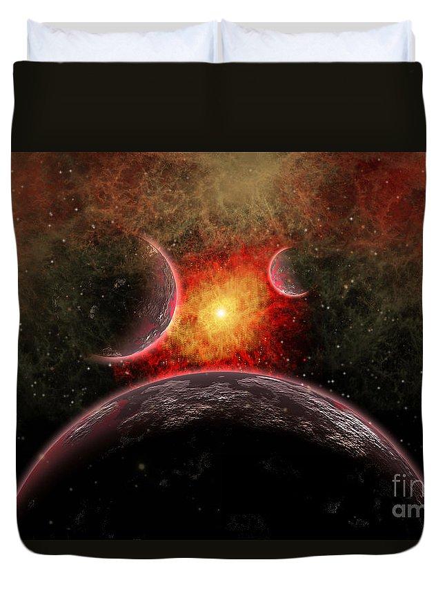 Space Duvet Cover featuring the digital art Artist Concept Illustrating The Stellar by Mark Stevenson