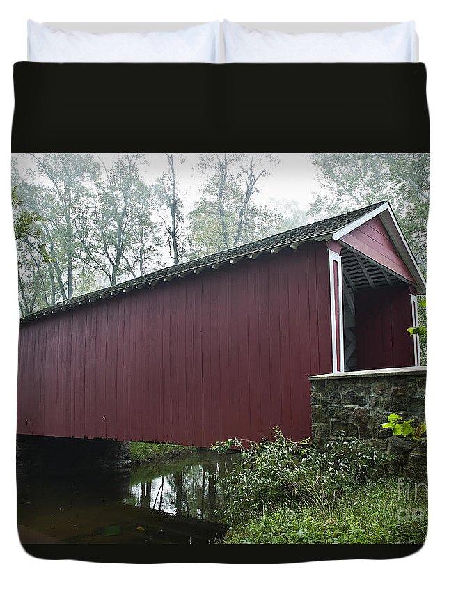Ashland Duvet Cover featuring the photograph Ashland Covered Bridge by John Greim