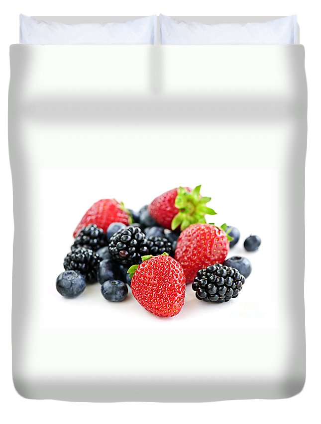Berries Duvet Cover featuring the photograph Assorted Fresh Berries by Elena Elisseeva
