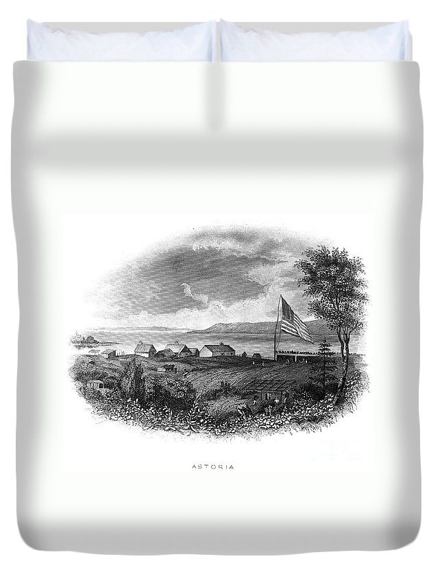 19th Century Duvet Cover featuring the photograph Astoria, Oregon by Granger