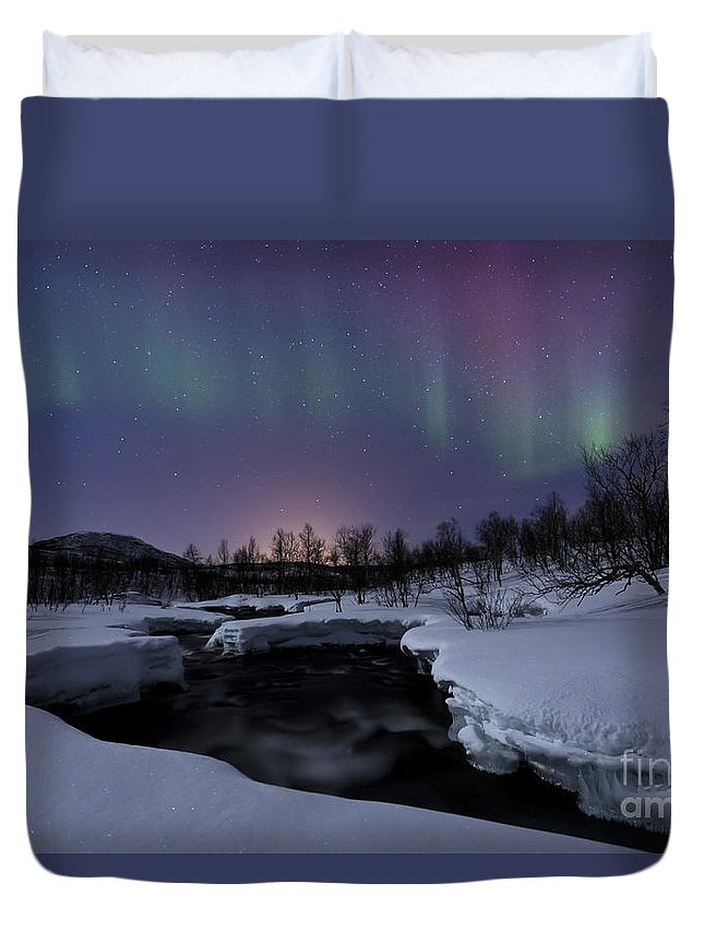 Aurora Borealis Duvet Cover featuring the photograph Aurora Borealis Over Blafjellelva River by Arild Heitmann