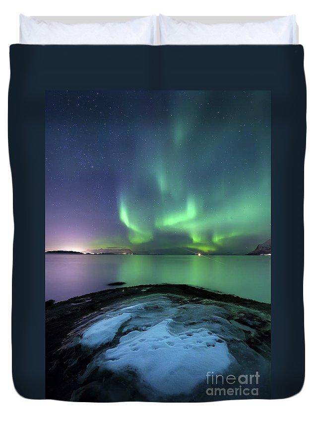 Harstad Duvet Cover featuring the photograph Aurora Borealis Over Vagsfjorden by Arild Heitmann