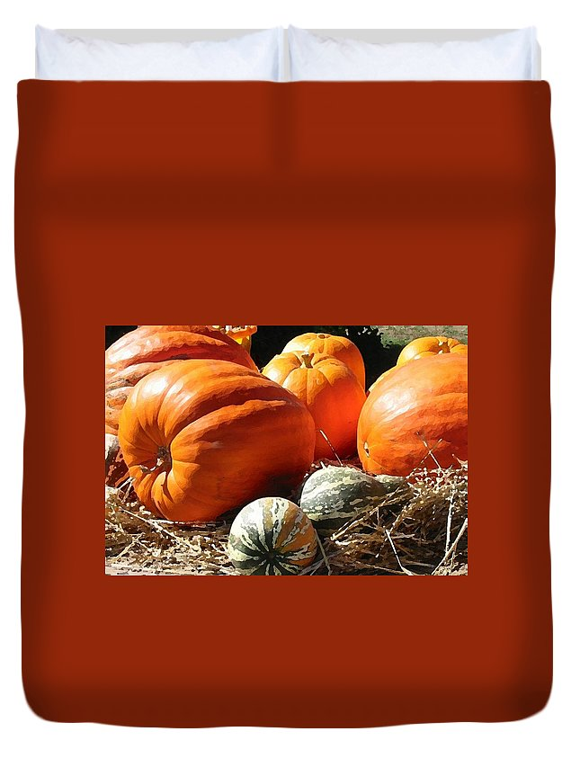 Farm Duvet Cover featuring the digital art Autumn Study by Lin Grosvenor