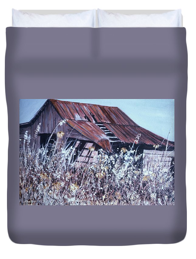 Rustic Duvet Cover featuring the painting Barn in Sunlight by Ben Kiger