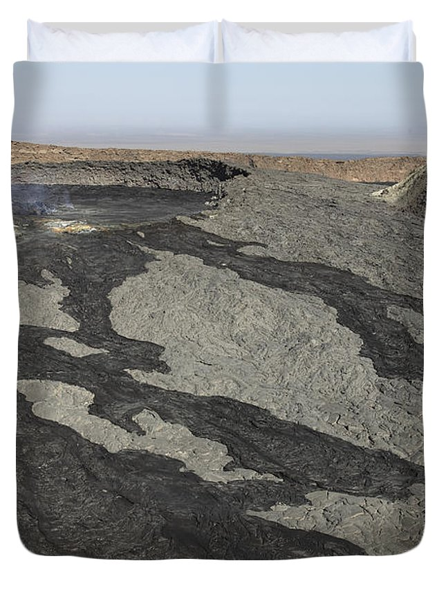 Igneous Rocks Duvet Cover featuring the photograph Basaltic Lava Flow From Pit Crater by Richard Roscoe