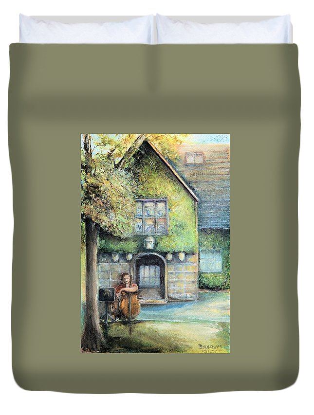 Bass Fiddler Historic Home Duvet Cover featuring the painting Bass Fiddle At Ford Gala I by Bernadette Krupa