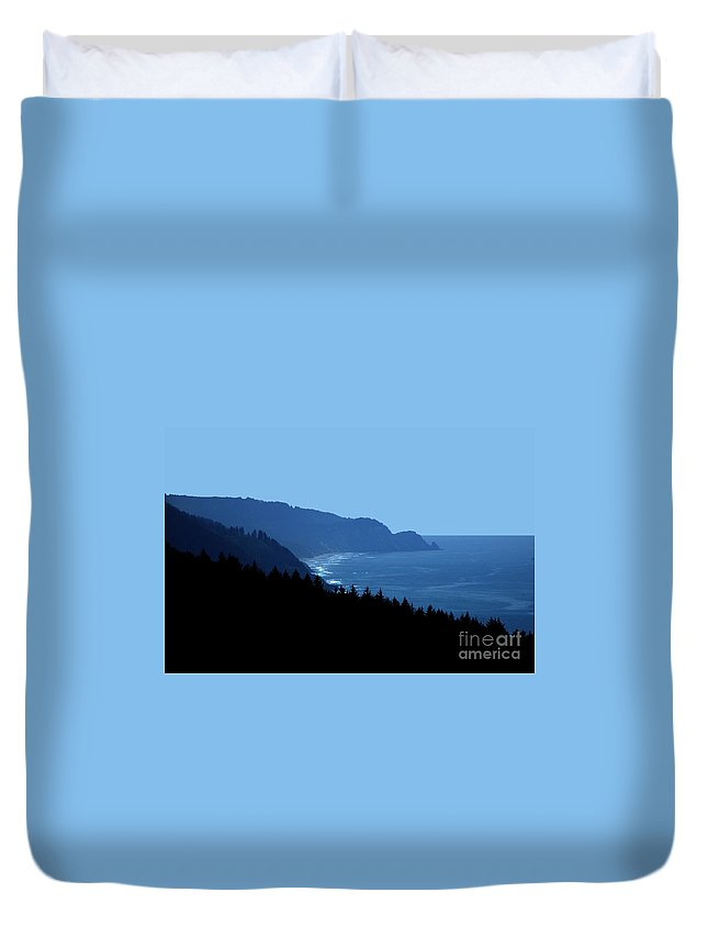 Blue Duvet Cover featuring the photograph Blue Ocean Vista by Mike Nellums