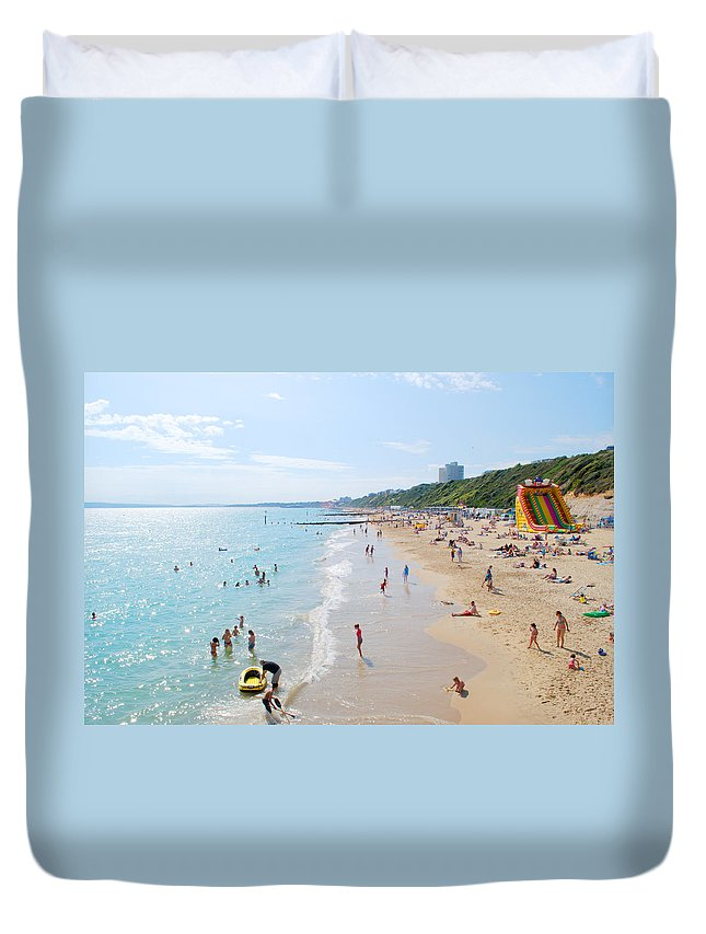 Bournemouth Duvet Cover featuring the photograph Bournemouth Beaches by Chris Day