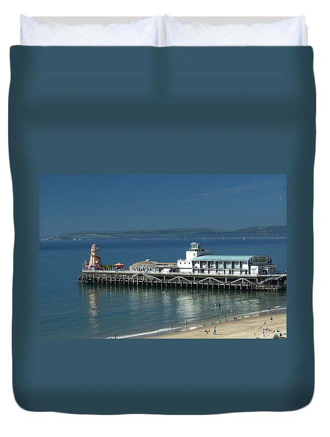 Bournemouth Duvet Cover featuring the photograph Bournemouth Pier by Chris Day