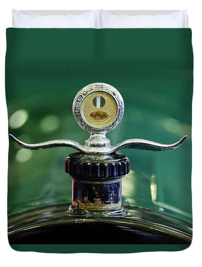 Boyce Motometer Duvet Cover featuring the photograph Boyce Motometer Hood Ornament by Jill Reger