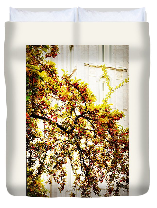 Salt Lake City Temple Duvet Cover featuring the photograph Branch Of Heaven by La Rae Roberts