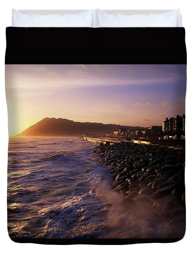 Beach Duvet Cover featuring the photograph Bray Promenade, Co Wicklow, Ireland by The Irish Image Collection