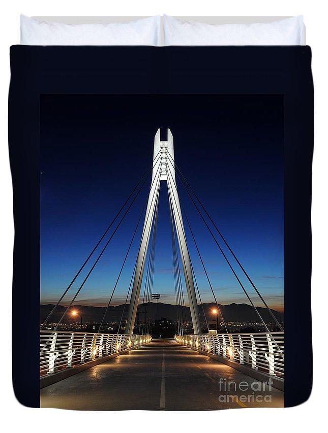Bridge Duvet Cover featuring the photograph Bridge To Twilight by Gary Whitton