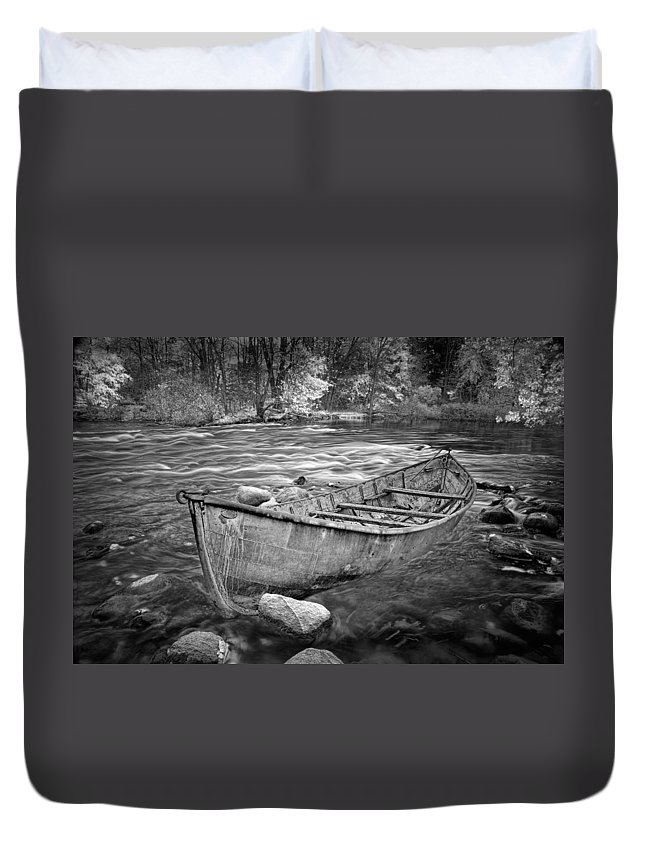 Art Duvet Cover featuring the photograph Canoe On The Thornapple River by Randall Nyhof
