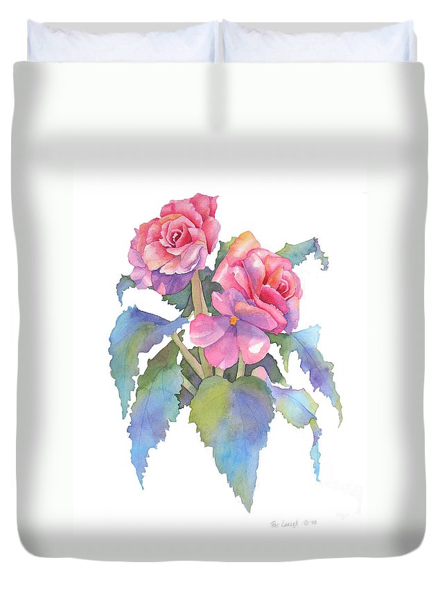 Begonias Duvet Cover featuring the painting Carmel Begonias by Pat Yager