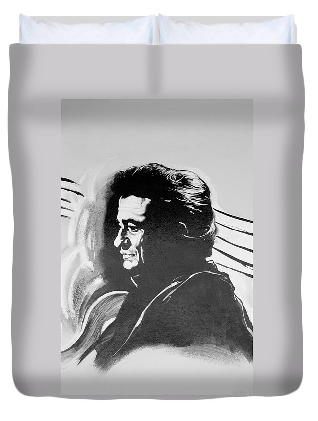 Johnny Cash Duvet Cover featuring the photograph Cash In Black And White by Rob Hans