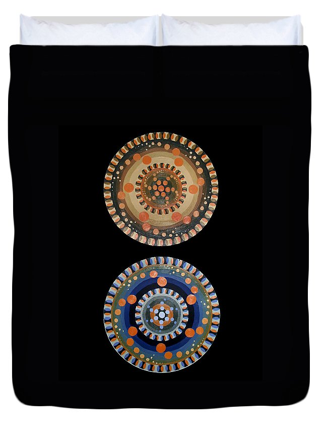Duvet Cover featuring the painting Circles by Kate Fortin