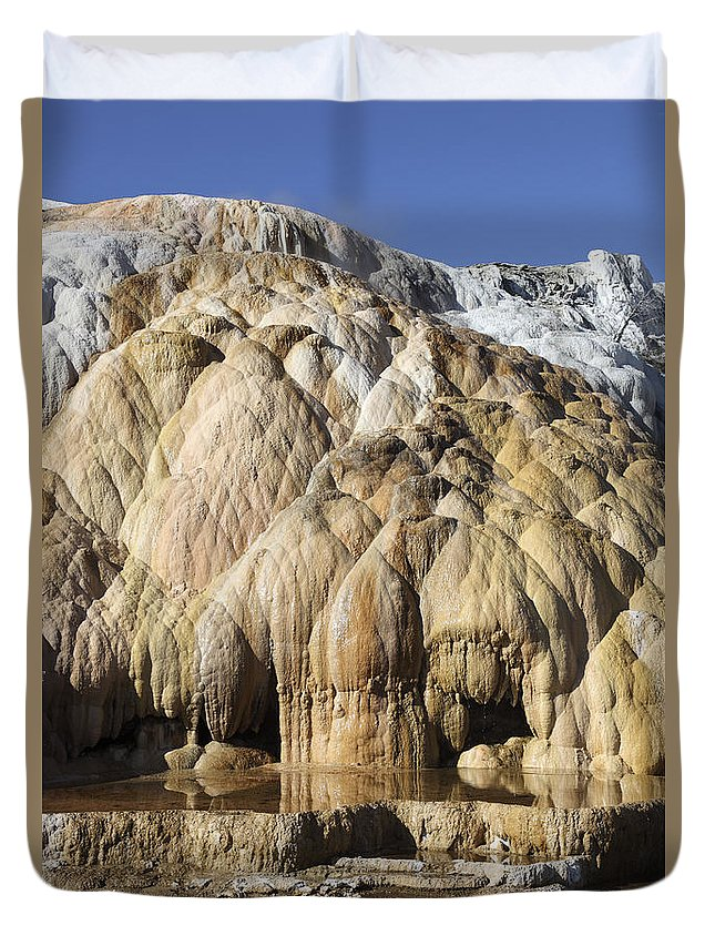 Unesco Duvet Cover featuring the photograph Cleopatra Terrace, Mammoth Hot Springs by Richard Roscoe