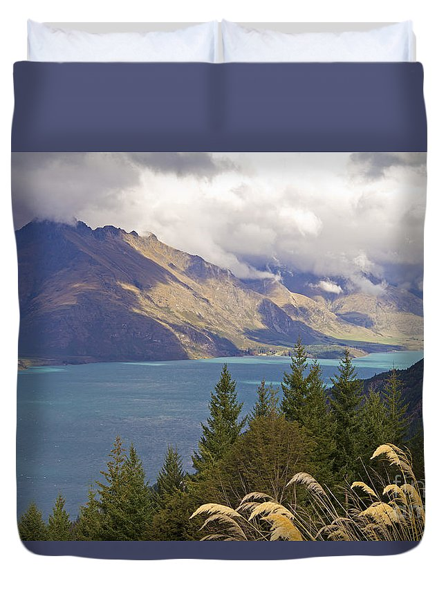 Rain Clouds Duvet Cover featuring the photograph Clouds Over The Mountains by Carole Lloyd