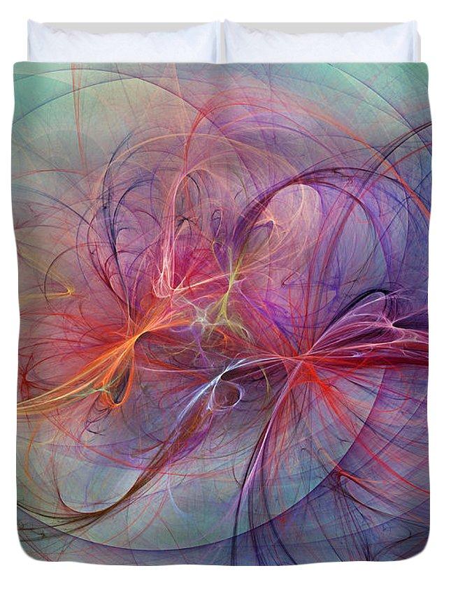 Fractal Duvet Cover featuring the digital art Coastal Sunset by Betsy Knapp