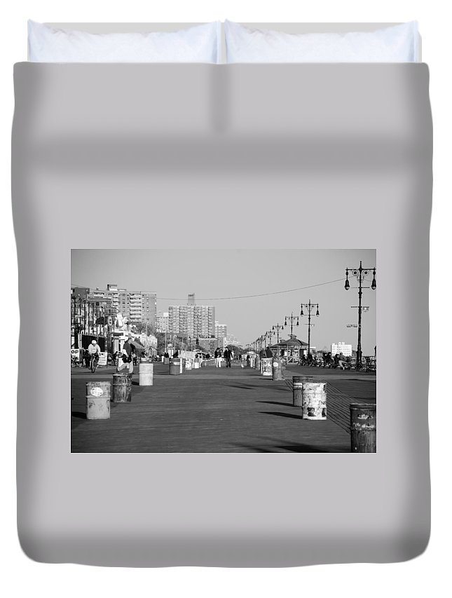 Brooklyn Duvet Cover featuring the photograph Coney Island Boardwalk In Black And White by Rob Hans