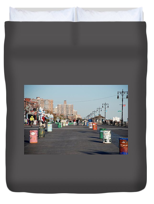 Brooklyn Duvet Cover featuring the photograph Coney Island Boardwalk by Rob Hans