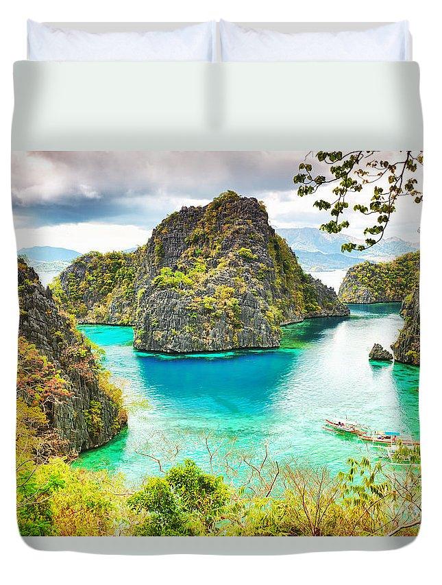 Lagoon Duvet Cover featuring the photograph Coron Lagoon by MotHaiBaPhoto Prints