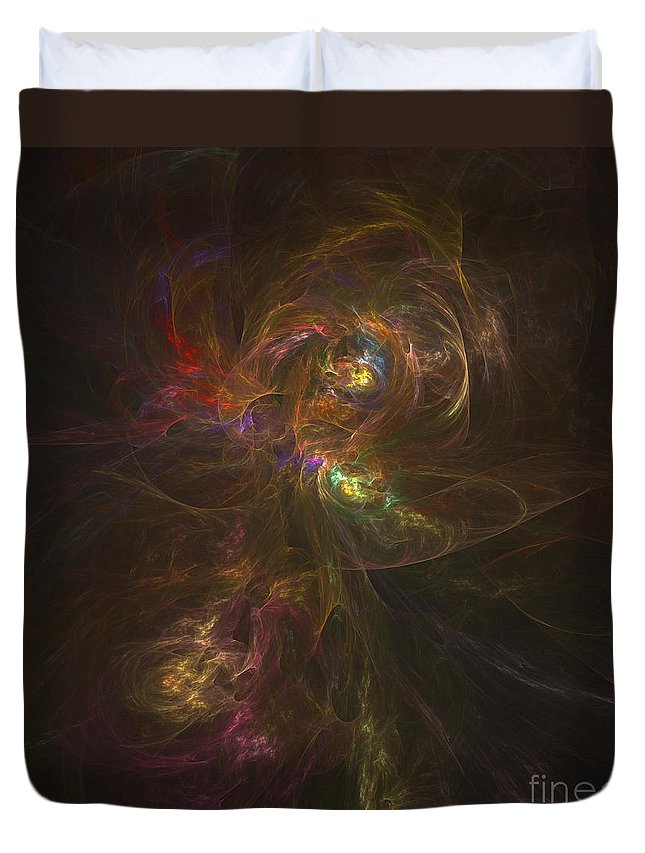 Stars Duvet Cover featuring the digital art Cosmic Image Of A Colorful Nebula by Corey Ford