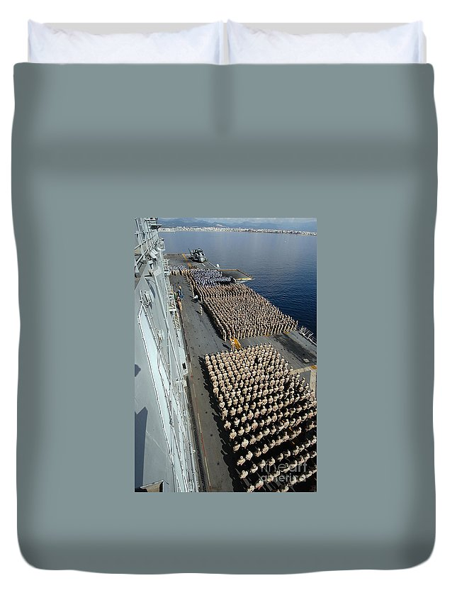 Color Image Duvet Cover featuring the photograph Crew Aboard The Amphibious Assault Ship by Stocktrek Images