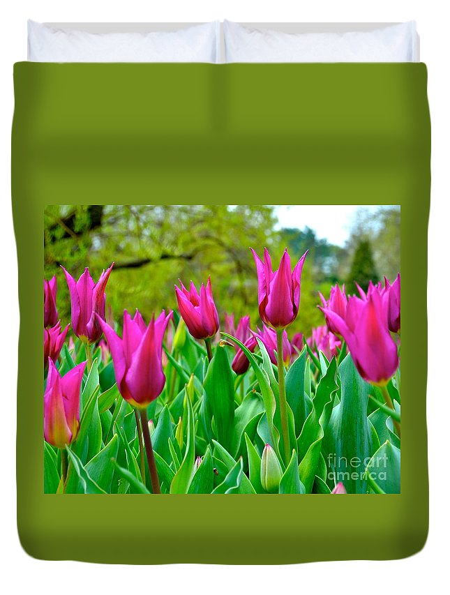 Tulips Duvet Cover featuring the photograph Dancing Tulips by Debbi Granruth