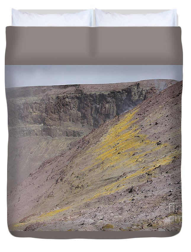 Nature Duvet Cover featuring the photograph Degassing North Crater With Fumarolic by Richard Roscoe
