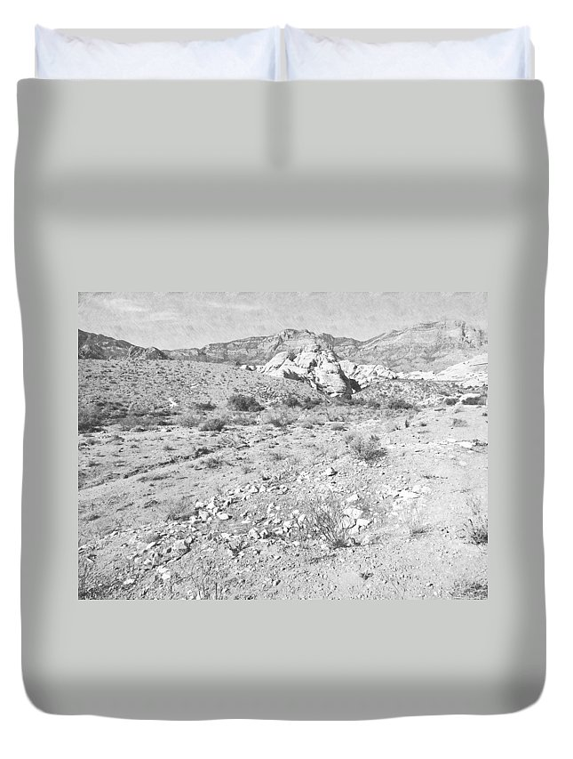 Pencil Duvet Cover featuring the photograph Desert Washout by Frank Wilson
