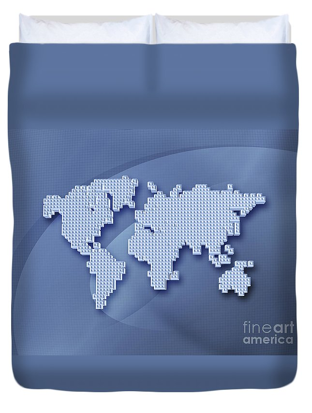 Abstract Duvet Cover featuring the photograph Digitally Generated Image Of The World by Vlad Gerasimov