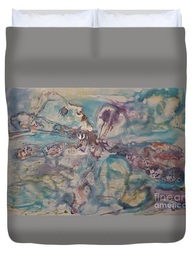 Dragonfly Duvet Cover featuring the painting Dragonfly Dreaming by Heather Hennick