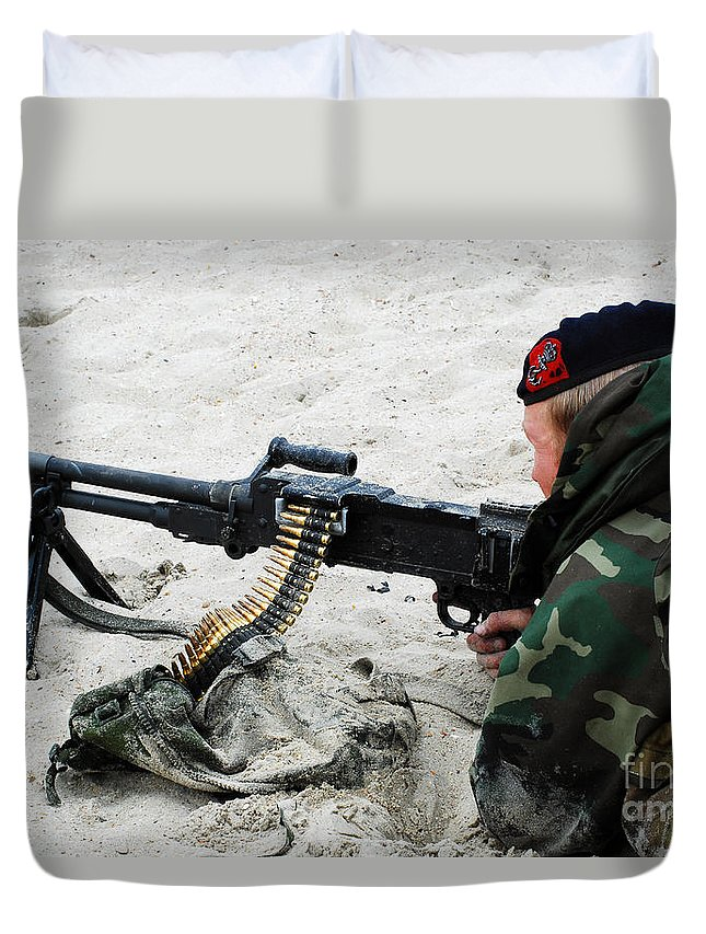 Ostend Duvet Cover featuring the photograph Dutch Royal Marines Taking Part by Luc De Jaeger
