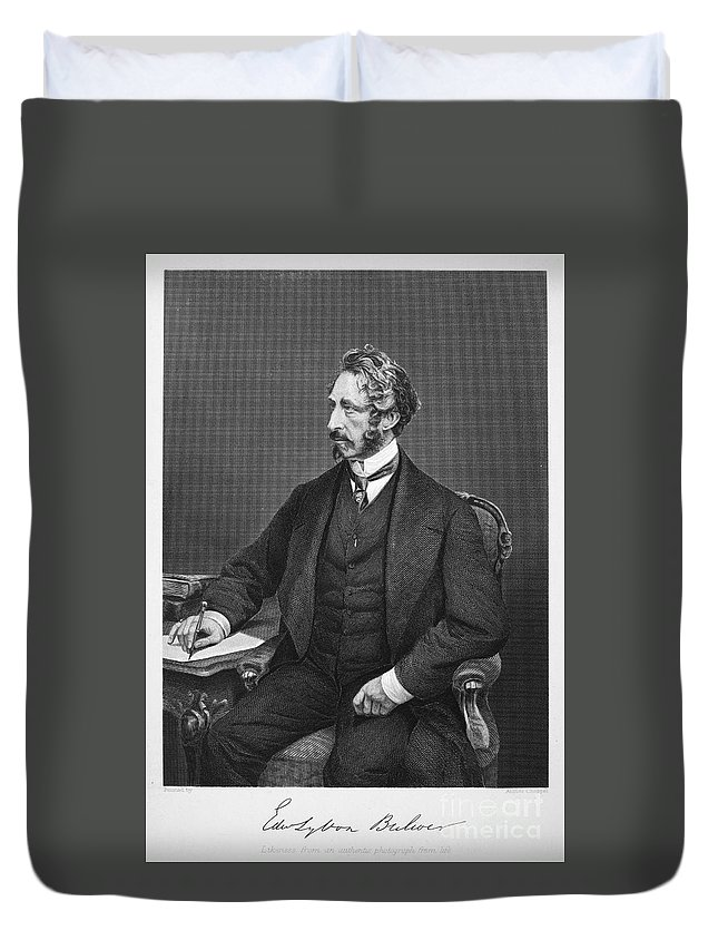 19th Century Duvet Cover featuring the photograph Edward Bulwer Lytton by Granger
