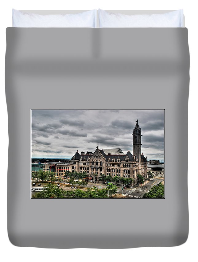 Duvet Cover featuring the photograph Erie Community College City Campus by Michael Frank Jr