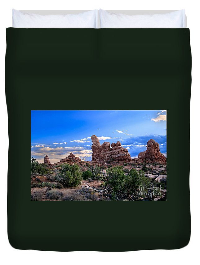 Arches National Park Duvet Cover featuring the photograph Eye View Of Arches by Robert Bales