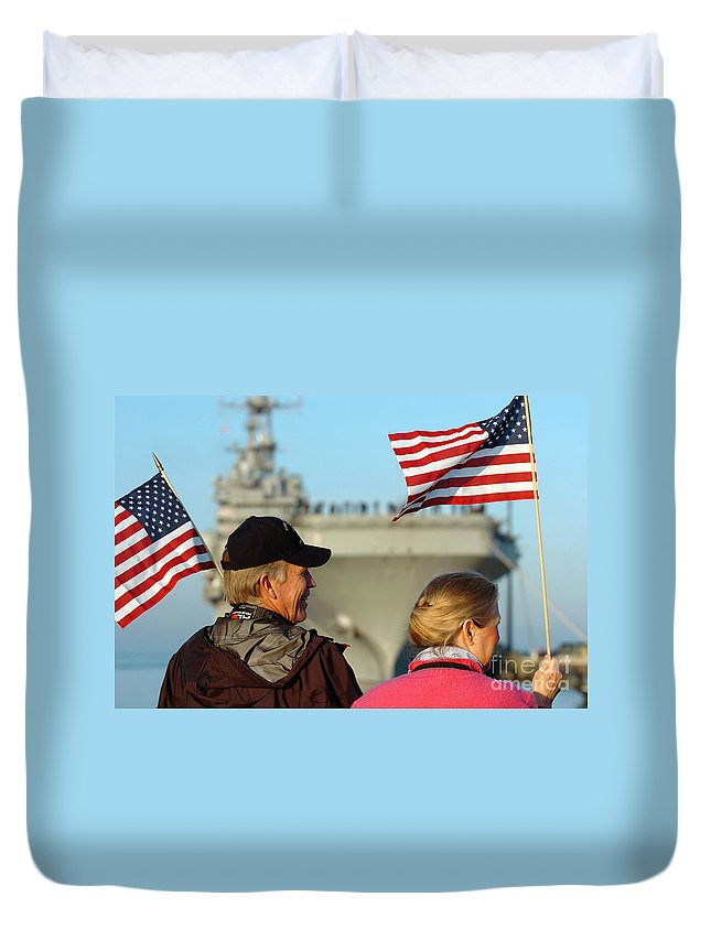 Horizontal Duvet Cover featuring the photograph Family Members Wave Flags To Show by Stocktrek Images