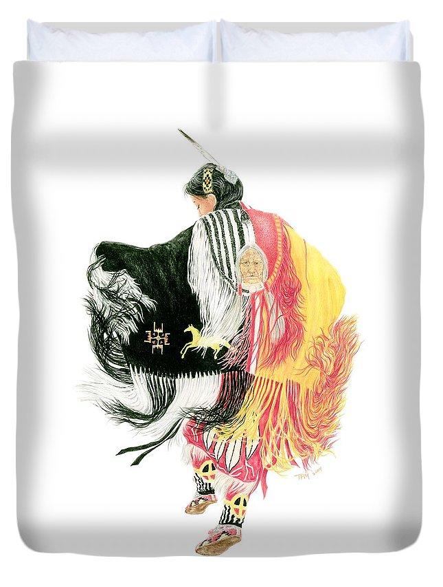 Fancy Shawl Dancer Duvet Cover featuring the drawing Fancy Shawl Dancer At Star Feather Pow-wow by Tim McCarthy
