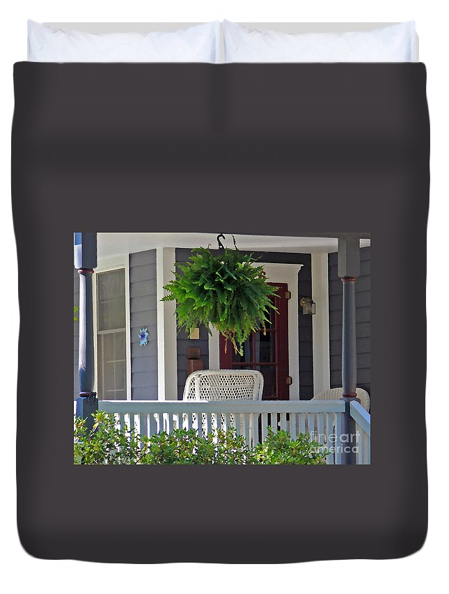 Fern Duvet Cover featuring the photograph Fern On Front Porch by Jack Schultz
