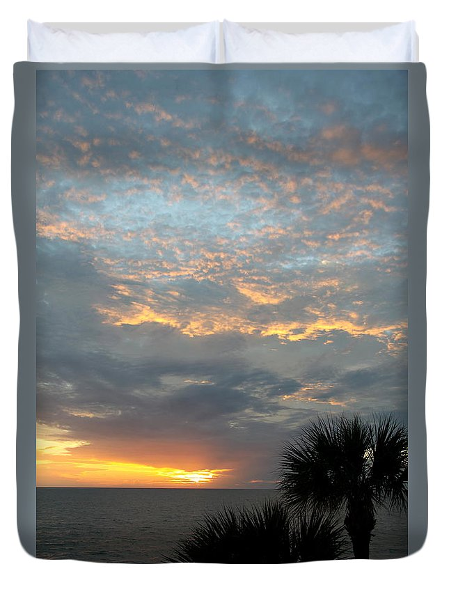 Fiery Sky Duvet Cover featuring the photograph Fiery Sky by Christiane Schulze Art And Photography