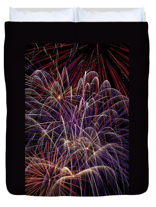 Fireworks 4th Of July Duvet Cover featuring the photograph Fireworks by Garry Gay