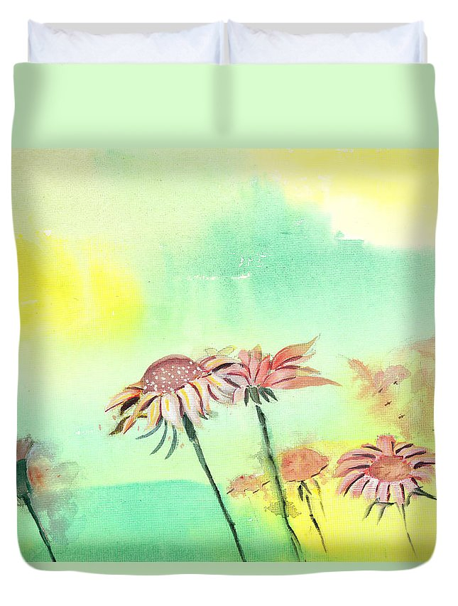 House Duvet Cover featuring the painting Flowers 2 by Anil Nene