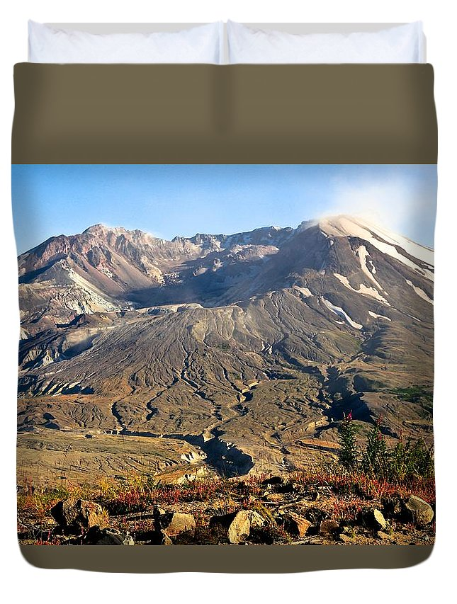 Mount St. Helens Duvet Cover featuring the photograph Flowers On Mount St. Helens by Athena Mckinzie