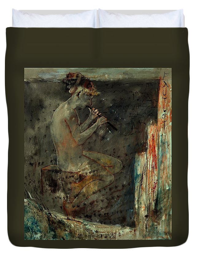 Music Duvet Cover featuring the painting Flutist by Pol Ledent