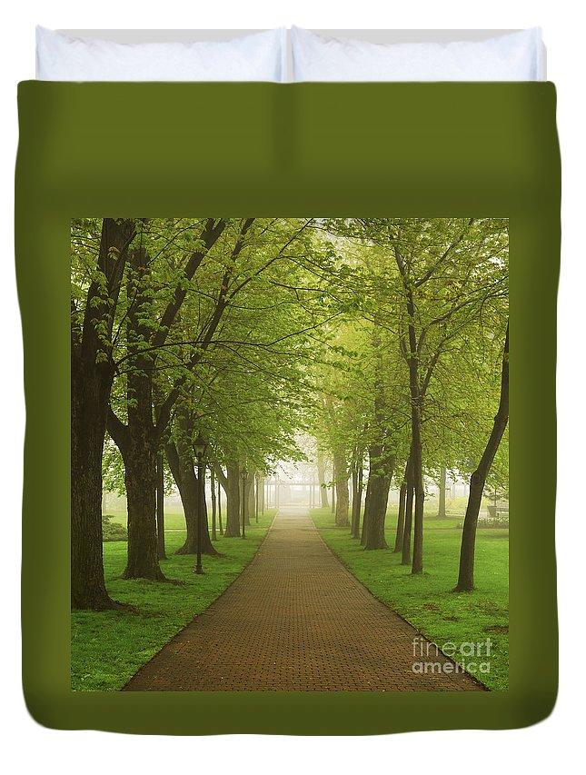 Fog Duvet Cover featuring the photograph Foggy Park by Elena Elisseeva