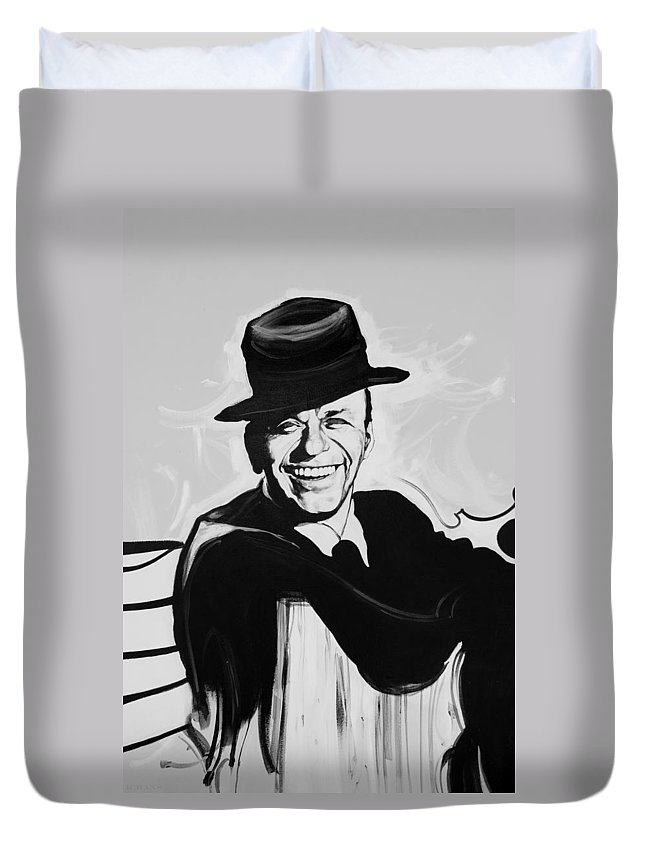 Frank Sinatra Duvet Cover featuring the photograph Frank In Black And White by Rob Hans