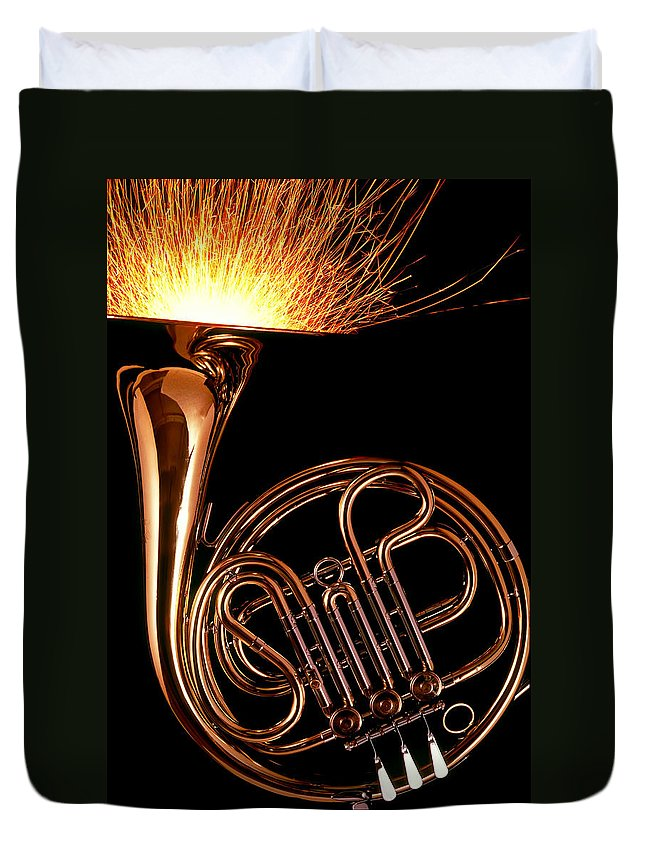 French Duvet Cover featuring the photograph French Horn With Sparks by Garry Gay